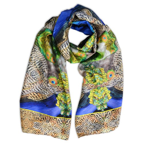 Bespoke, supersize silk scarf design inspired by the peacocks at Kew Gardens. Designed and made in Britain. Purchase handmade quality silk scarves on line from St Agnes Eve.