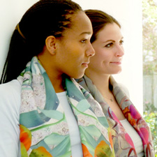 Women Wearing Silk Scarves
