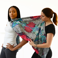 Women Trying On Silk Scarves